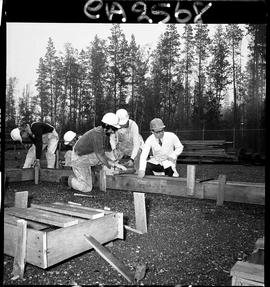 B.C. Vocational School; Carpentry Trades students building foundation forms with instructor (4 of 6)