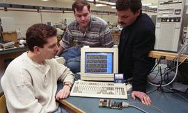 Student projects, presentations, Technology Centre Lab, 1995, three people at computer work stati...