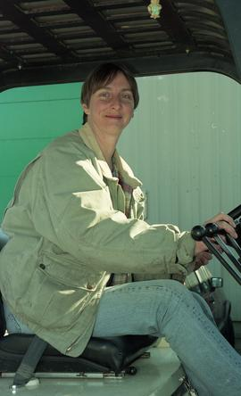 BCIT women in trades; forklift training, students driving a forklift [1 of 15 photographs]