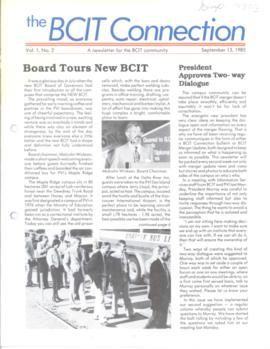 BCIT Connection, vol. 1, no. 2, 1985-09-13