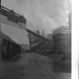 Forestry, Wood fiber BCIT tour, November 26, 1965; outside of wood fiber factory