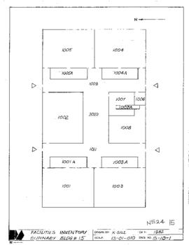 NE24, Facilities inventory Burnaby Bldg. no. 15, floor plan,1982