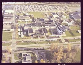 British Columbia Institute of Technology, aerial view of main buildings on Burnaby campus from Wi...