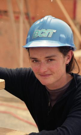 BCIT Women in Trades; carpentry, Kathy Thom, BCIT Faculty, wearing BCIT hardhat [2 of 2 photographs]
