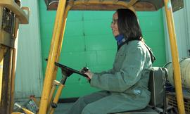 BCIT women in trades; forklift training, students driving a forklift [14 of 15 photographs]