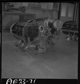 British Columbia Vocational School image of aircraft engine parts in the hangar [4 of 5 photographs]