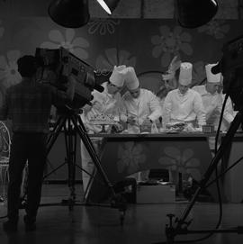 BCVS at Channel 8 TV; television set where chefs are preparing dinner and desserts