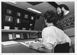Broadcast Communication; two men working in Television Video Control Two;  photograph used in Par...