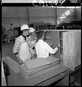 B.C. Vocational School; Carpentry Trades students and an instructor