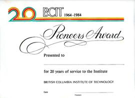 Blank copy of BCIT Pioneers certificate with original gold embossed folder