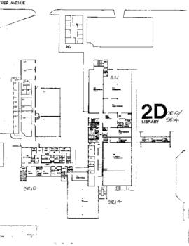 SE10 and SE14, Facilities inventory Burnaby, formerly 2D Library, first floor floor plan, ca.1980s