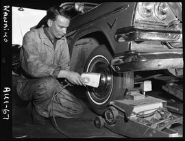B.C. Vocational School image of an Automotive program student working on a vehicle in the shop in...