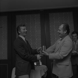 Hockey presentation, Plaza 500, 1972; coach receiving an award [1 of 2]