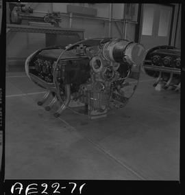 British Columbia Vocational School image of aircraft engine parts in the hangar [3 of 5 photographs]