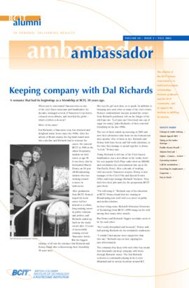 BCIT Alumni Association Newsletter 2002 Fall Alumni Ambassador