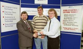 Student projects, presentations, Technology Centre Lab, 1995, people shaking hands in front of a ...