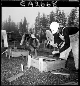 B.C. Vocational School; Carpentry Trades students building foundation forms with instructor (5 of 6)