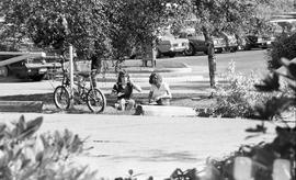 BCIT students having a picnic near parking lot