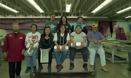 Pre-trade Aboriginal women; sheet metal, group shot of students and instructor [3 of 12 photographs]
