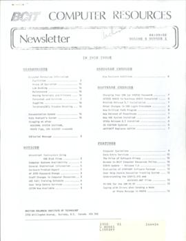 BCIT Computer Resources Newsletter, vol.5, no.1, 1986-09-02