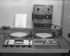 British Columbia Institute of Technology Broadcasting ; 1960s ; turntable set up, microphones and...