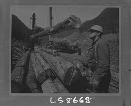 Logging, 1968; copy negative; picture of a man standing next to a pile of logs and a log loader c...