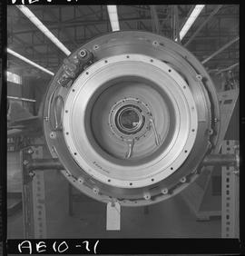 BC Vocational School image of aircraft engine in the hangar [2 of 2 photographs]