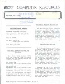 BCIT Computer Resources Bulletin 1987-11-30