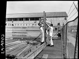 B.C. Vocational School image of Carpentry Trades students practicing construction in the yard out...