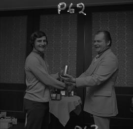 Hockey presentation, Plaza 500, 1972; player receiving an award [3 of 4]