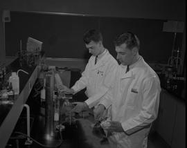Food Processing Technology, 1966; two men in lab coats filling petri dishes ; other lab equipment...