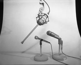 British Columbia Institute of Technology Broadcasting ; 1960s ; two microphones in stands and one...