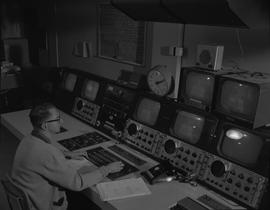 BCIT Broadcast and Television, 1964; man sitting at a control board