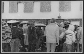 Crowd in snow at ceremony, BCIT Radio station CFML goes on air Friday, January 22, 1982