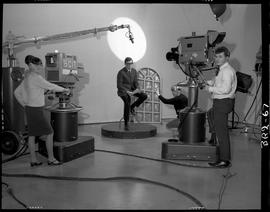 B.C. Vocational School image of Broadcasting students practicing, cameras, and a microphone boom ...