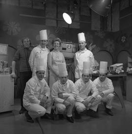 BCVS at Channel 8 TV; host, chefs and TV producer posing for a picture [3 of 3]