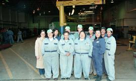 Pre-trade Aboriginal women; welding, group shot of students wearing uniforms [5 of 8 photographs]