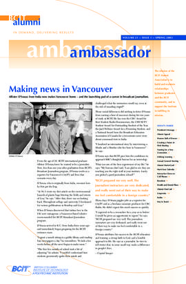 BCIT Alumni Association Newsletter 2003 Spring Alumni Ambassador