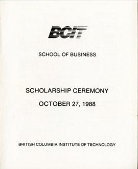 BCIT School of Business, Scholarship ceremony; October 26, 1988, program