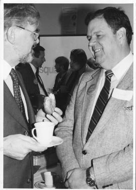 Merger of BCIT and PVI, fall of 1985, event photos; Malcolm Wickson, BCIT BOG Chair and Elwood Ve...