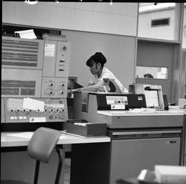 Woman with IBM 2501 computer, Business Management program