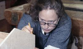 BCIT Women in Trades Training; carpentry, woman marking wood [3 of 3 photographs]
