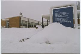 British Columbia Institute of Technology - Burnaby campus - exterior photograph of winter snow on...