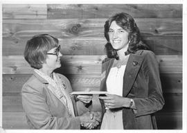 Alumni Awards, 1979, event photograph; recipient Lalani Vanderheide, award presented by Margaret ...