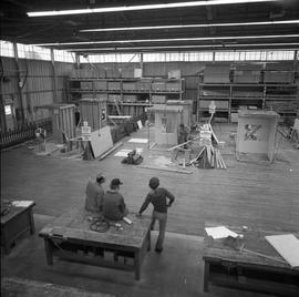 Carpentry apprenticeship contest, Burnaby campus, 1978 ; apprentices working on projects ; three ...