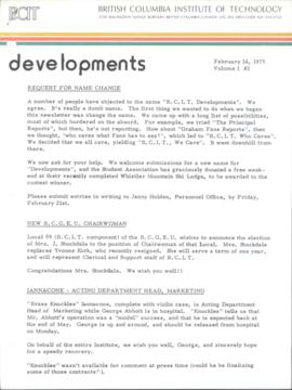 BCIT Developments, vol. 1, no. 2, 1975-02-14