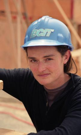 BCIT Women in Trades; carpentry, Kathy Thom, BCIT Faculty, wearing BCIT hardhat [1 of 2 photographs]