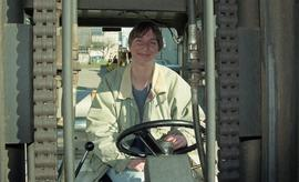 BCIT women in trades; forklift training, students driving a forklift [5 of 15 photographs]