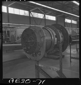 British Columbia Vocational School image of aircraft engine parts in the hangar [1 of 5 photographs]