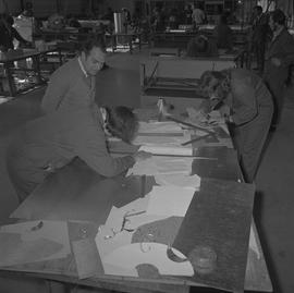 Sheet metal, 1968; classroom of students working in the sheet metal shop [1 of 3]
